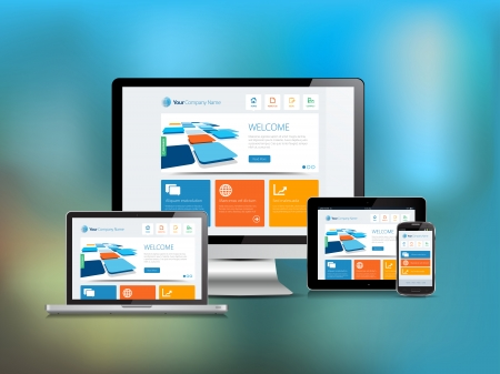 This image is a vector file representing a responsive design concept on various media devices with a blur background.