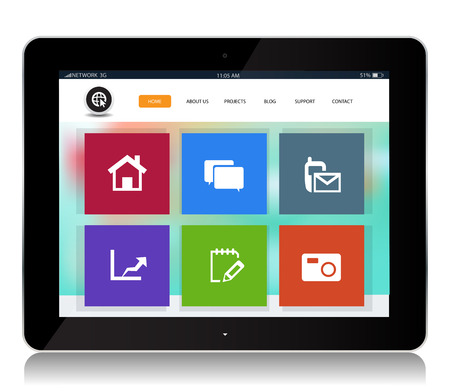 This image is a vector file representing a internet website tablet.