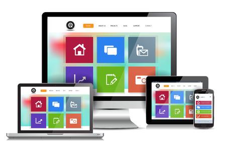 Cette image est un fichier vectoriel représentant un site de design concept sensible sur divers appareils multimédias.