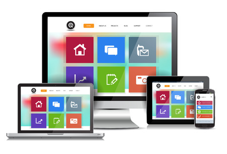 This image is a vector file representing a responsive design website concept on various media devices.