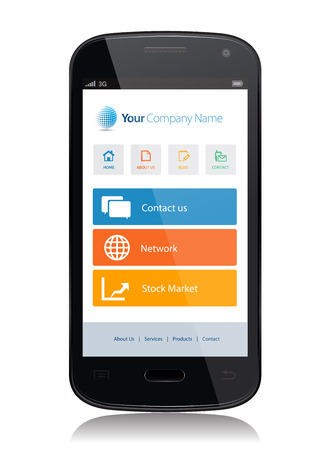 This image is a vector file representing a smartphone with a responsive design website.