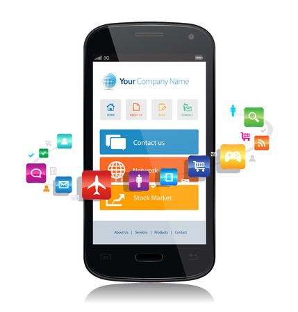 This image is a vector file representing a smartphone with a responsive design website surrounded by apps. Illustration