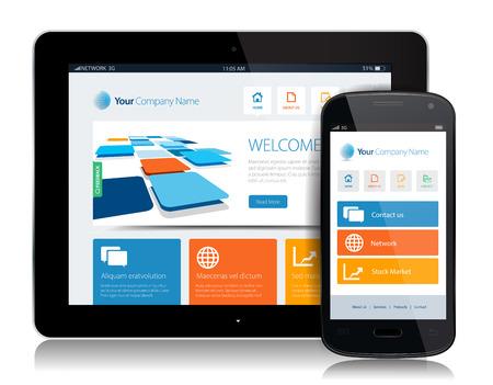 ce: Cette image est un fichier vectoriel repr�sentant un smartphone et une tablette avec un site de conception adapt�e.
