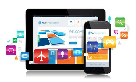 이 이미지는 응용 프로그램에 의해 둘러싸인 응답 디자인 웹 사이트와 스마트 폰 및 태블릿을 나타내는 벡터 파일입니다. 일러스트