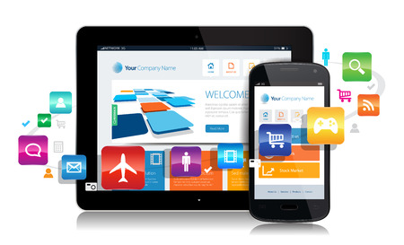 This image is a vector file representing a smartphone  and a tablet with a responsive design website surrounded by apps. Illustration