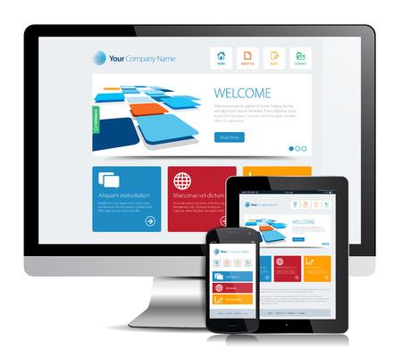 Cette image est un fichier vectoriel représentant un smartphone et une tablette avec un site de conception adaptée.