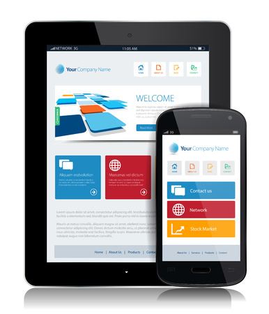 This image is a vector file representing a smartphone  and a tablet with a responsive design website.