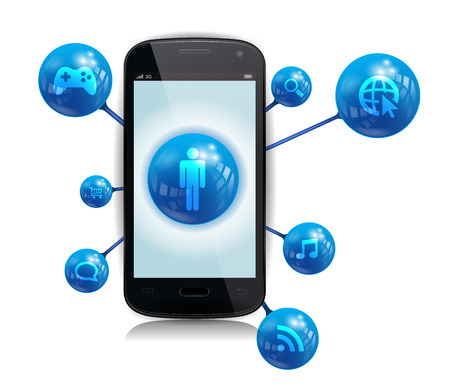 This image is a vector file representing a smartphone with internet related apps.