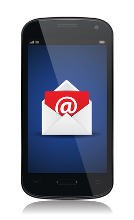 This image is a vector file representing a email contact envelope on a smartphone.