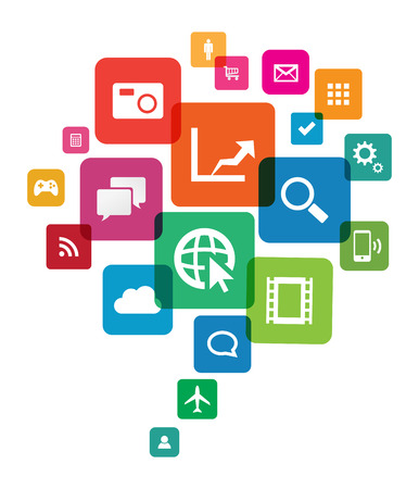 This image is a vector file representing an app cloud technology.