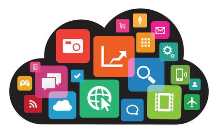 Cette image est un fichier vecteur représentant une technologie nuage app.