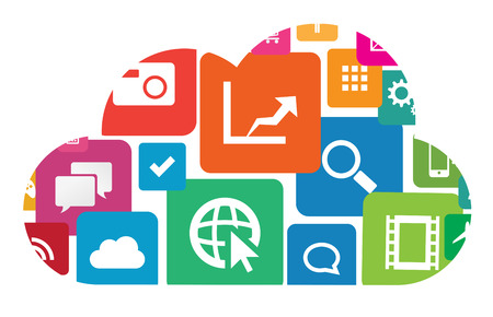 This image is a vector file representing an app cloud technology. Stock Vector - 24755093