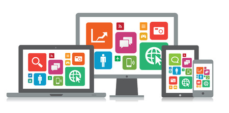 This image is a vector file representing a set of media technology devices with app icons. Stock Vector - 24906185