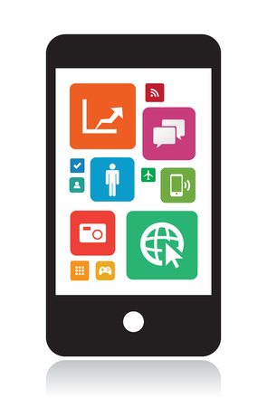 This image is a vector file representing a smart phone with app icons. Illustration
