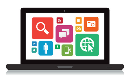 laptop vector: This image is a vector file representing a laptop with app icons. Illustration