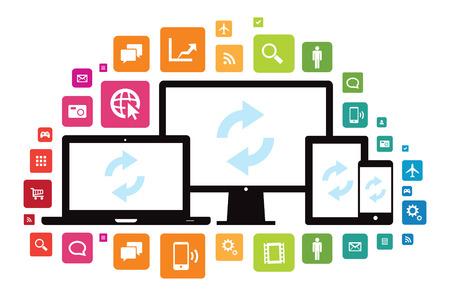 이 이미지는 앱 아이콘 미디어 기술 장치의 집합을 나타내는 벡터 파일이다. 일러스트