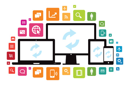 This image is a vector file representing a set of media technology devices with app icons. Stock Vector - 24913377