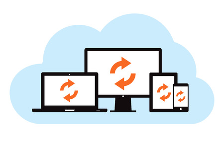 This image is a vector file representing a cloud backup sync concept.