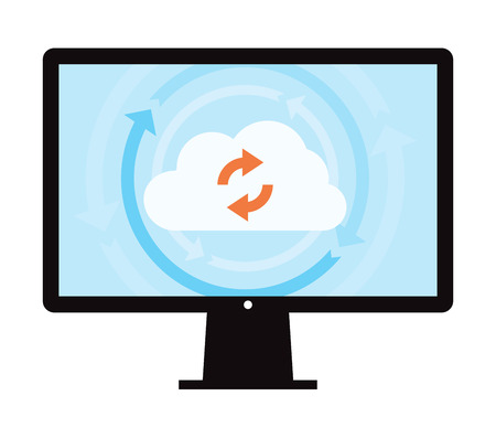 in sync: This image is a vector file representing a cloud data backup sync concept