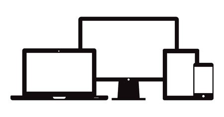 This image is a vector file representing a set of electronic devices. Smart Phone Tablet Laptop Desktop.