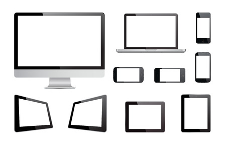 This image is a vector file representing a vector collection of isolated media devices.