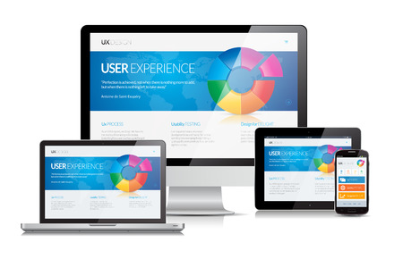 responsive web design: This image is a vector file representing a responsive design concept on various media devices.
