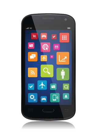 This image is a vector file representing a collection of apps on a smartphone. Vector