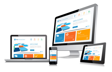web site design: This image is a vector file representing a responsive design concept on various media devices.