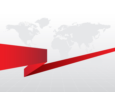 a grey business background with a red ribbon. Illustration