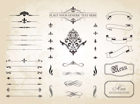 A set of  Vintage Decorative Ornament Borders and Page Dividers. Vector