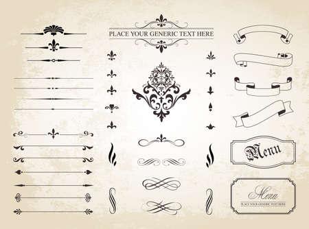 bordes decorativos: Un conjunto de vintage decorativo Ornamento Fronteras y divisores de la p�gina. Vectores