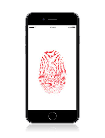 Vector detailed smartphone mockup with security fingerprint on screen. Ilustracja