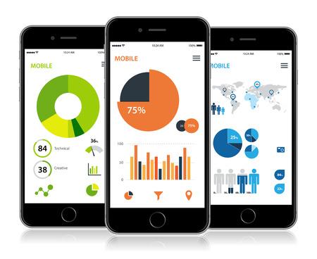 Vector detailed smartphone info graphic statistics design.