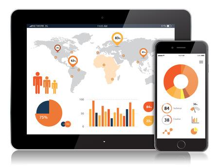 Vecteur détaillé Tablet et Mobile Vector Design.