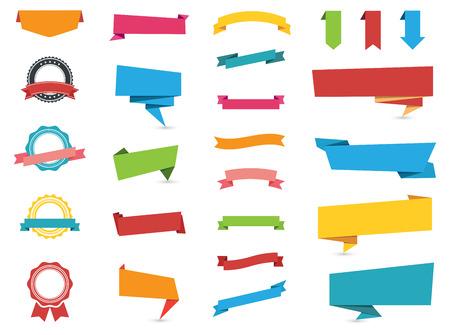 forme: Design plat du Web autocollants, étiquettes, bannières et Labels collection.  Stickers Web, étiquettes, bannières et étiquettes