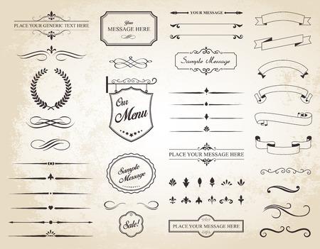 page decoration: Deze afbeelding is een vector set die kalligrafische elementen, randen, paginaverdelers, pagina decoratie en ornamenten bevat. Stock Illustratie