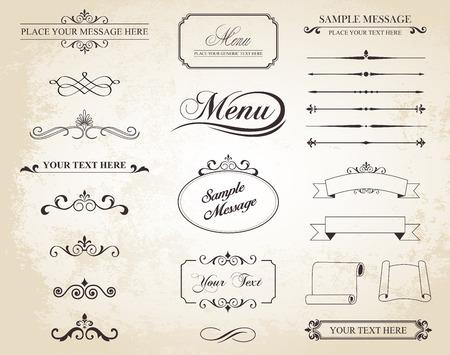 dekoration: Set, das kalligraphische Elemente, Ränder, Seitenteiler, Seite Dekoration und Ornamente enthält. Illustration