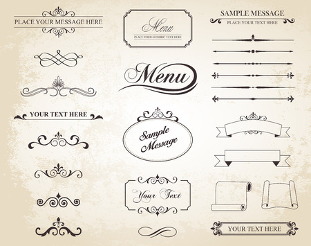 calligraphic: set that contains calligraphic elements, borders, page dividers, page decoration and ornaments.