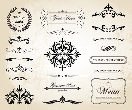 This image is a file representing a set of  Vintage Decorative Ornament Borders and Page Dividers.