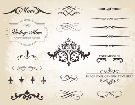 Cette image est un ensemble contenant des éléments calligraphiques, des bordures, des séparateurs de page, des décorations de page et des ornements.