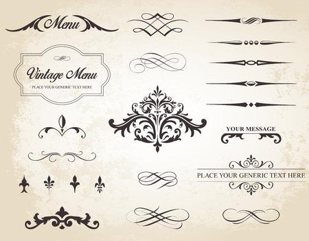 Questa immagine è un set che contiene elementi calligrafici, bordi, divisori di pagina, pagina decorazioni e ornamenti.