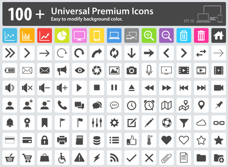 Set of 100+ Universal Premium Icons. Easy to modify the background color. Media Icons, Web Icons, Arrow Icons, Settings Icon, Shopping Icons, Cloud Icons, User Icons, Finance Icons, Mobile Icons. Illustration