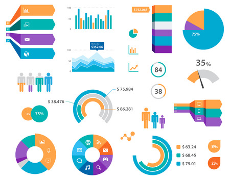 This image is a vector file representing a set of  Vector Infographics Chart Labels And Icons.