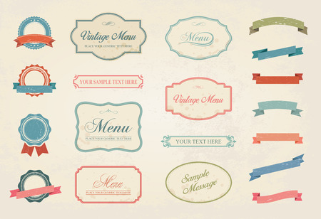 This image is a vector file representing a Premium Vintage Labels Vector Design Elements Collection Set. Ilustracja