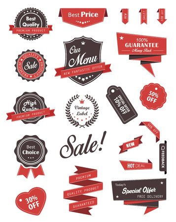 stamps: Vector set of banners, labels, ribbons and stickers.