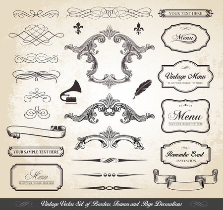 This image is a vector file representing a Vintage Vector Set of Borders Frames and Page Decorations Collection Set.