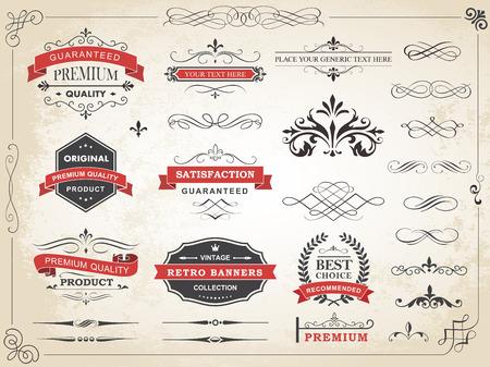 葡萄收穫期: 書法復古標籤裝飾分矢量設計元素和頁裝飾矢量插圖
