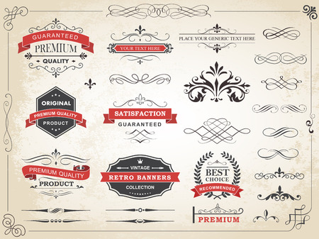 etiqueta: Ilustración del vector de la etiqueta de la vendimia caligráfica ornamento divisor elementos de diseño vectorial y decoración de página