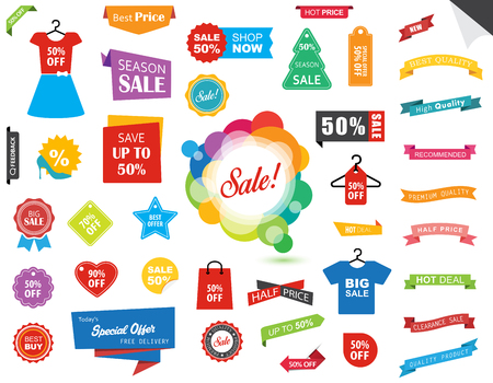 This image is a vector file representing a Sale Label Tag Sticker Banner collection set.  イラスト・ベクター素材