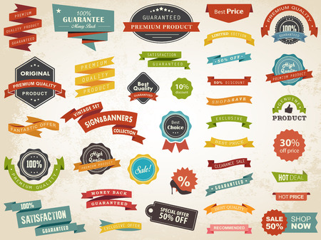 Vector illustration set of vintage label banner tag sticker badge vector design elements. Иллюстрация